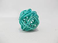 Шар плетенный из ротанга 3 см голубой, фото 1