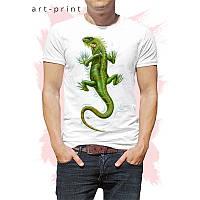 Футболка чоловіча біла з принтом Iguana, фото 1
