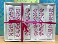 Набор из 6 вафельных полотенец с розовой вышивкой