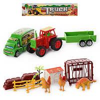 Ферма 8156-6 трактор с прицепом(инер-й), машина, животные, в кульке, 24-24-7см