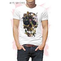 Футболка трикотажна чоловіча біла з малюнком Skull Animals, фото 1
