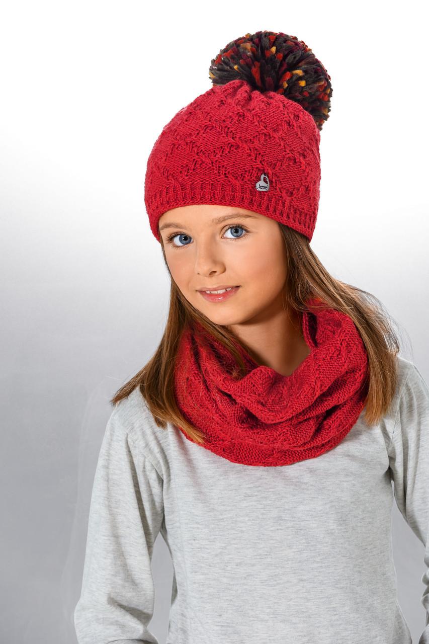 Модний дитячий в'язаний шарф - хомут для дівчаток від Loman Польща