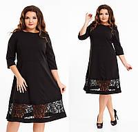 Элегантное черное гипюровое платье