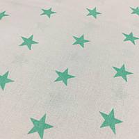 Ткань с мятными звездами на белом фоне ширина 160 см, фото 1