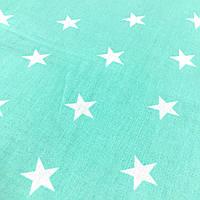 Ткань с белыми звездами на мятном фоне, ширина 160 см, фото 1