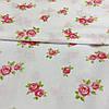 Ткань с мелкими розовыми розочками на белом фоне, бязь, хлопок