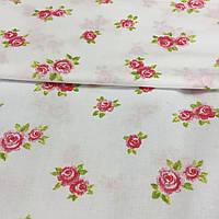 Ткань с мелкими розовыми розочками на белом фоне, бязь, хлопок, фото 1