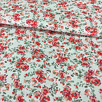Ткань с мелкими красно-персиковыми цветочками на молочном фоне, ширина 145 см, фото 1