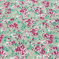 Ткань с мелкими розовыми цветочками на бежевом фоне, бязь, хлопок, фото 1