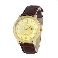 Мужские часы в стиле Patek  - Geneve, корпус - золотистый, кварцевые, фото 1