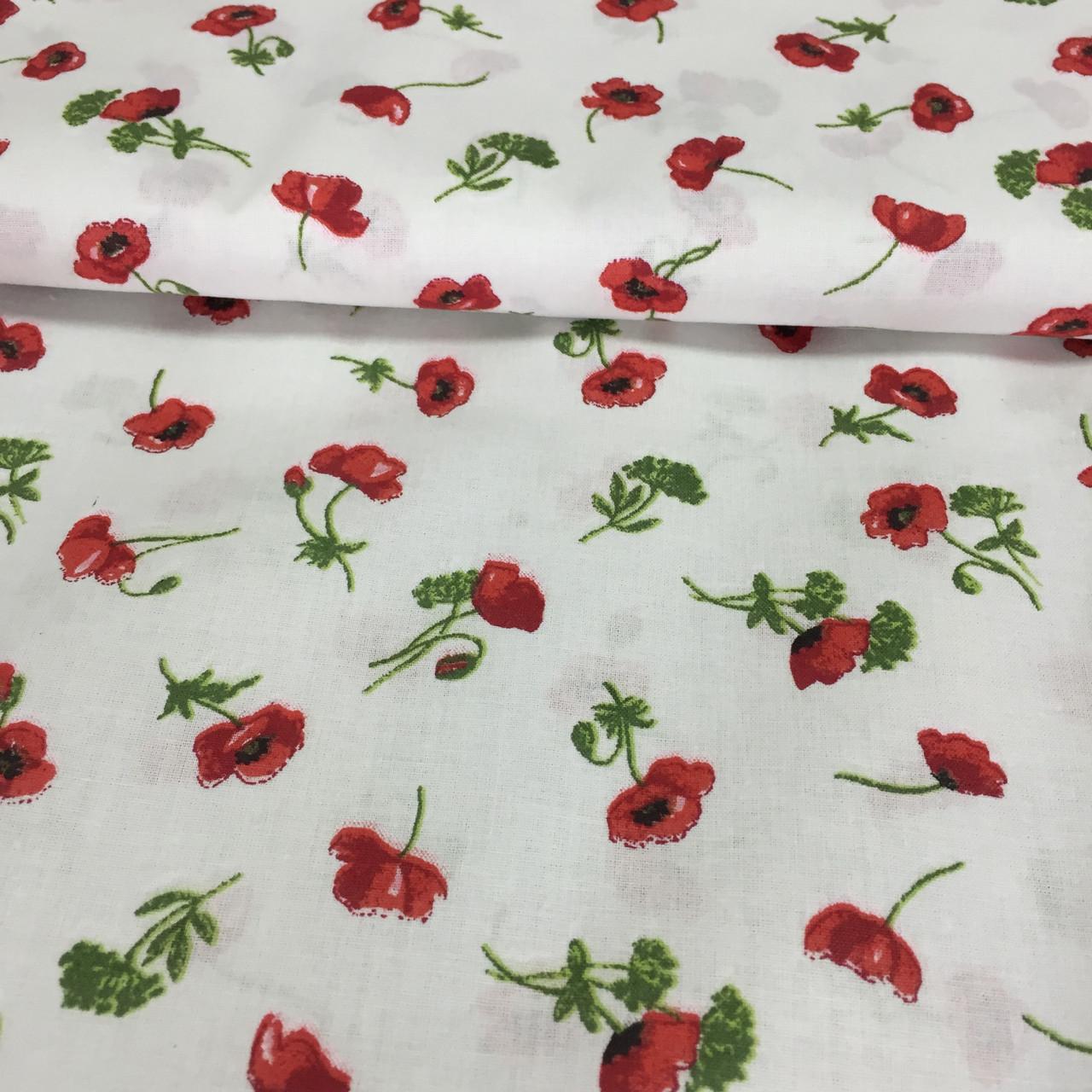 Ткань с мелкими красными маками на белом фоне, бязь, хлопок, ширина 145 см, фото 1