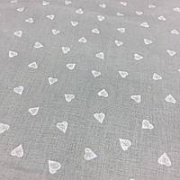 Ткань с мелкими белыми сердечками на сером фоне, бязь, хлопок