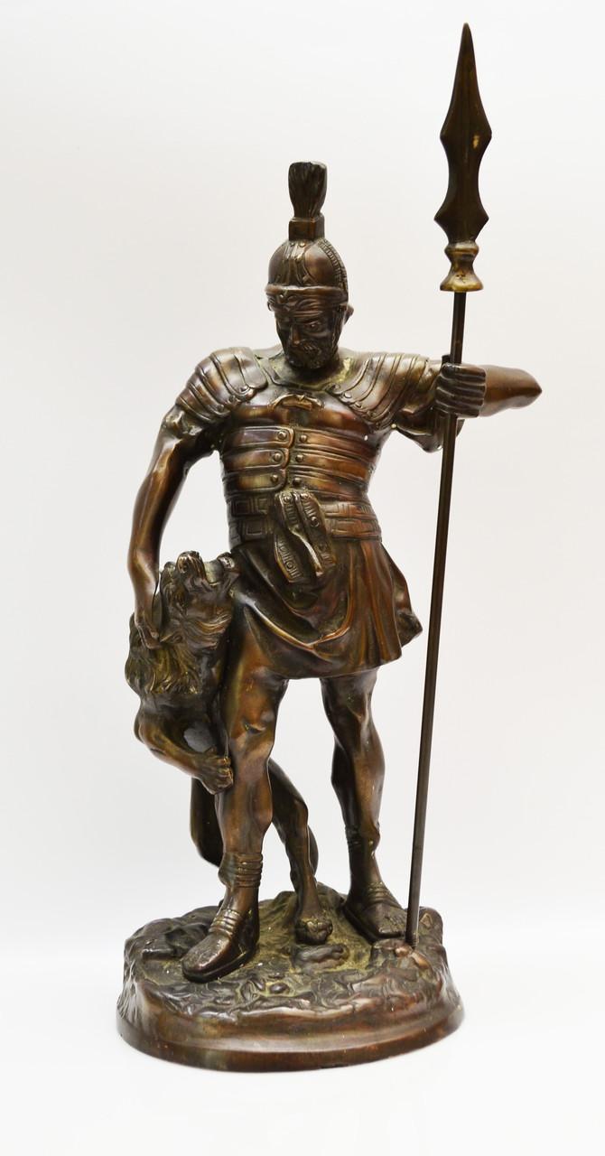 Старая бронзовая скульптура, преторианец, римский воин, бронза 42 см