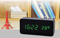 Часы декоративные с красной подсветкой в виде деревянного бруска VST-1294 маленькие