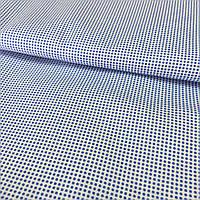 Ткань с мелким голубым горошком на белом фоне, хлопок, фото 1