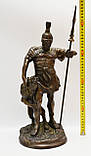 Старая бронзовая скульптура, преторианец, римский воин, бронза 42 см, фото 6