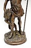 Старая бронзовая скульптура, преторианец, римский воин, бронза 42 см, фото 7
