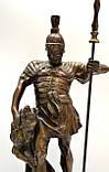 Старая бронзовая скульптура, преторианец, римский воин, бронза 42 см, фото 8