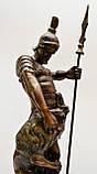 Старая бронзовая скульптура, преторианец, римский воин, бронза 42 см, фото 9
