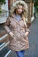 """Куртка """"парка"""" с натуральным мехом енота. 4 цвета. Р-ры: S,M,L,XL,XXL. 8062"""