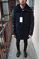 Мужская зимняя парка c кожаными рукавами, черная