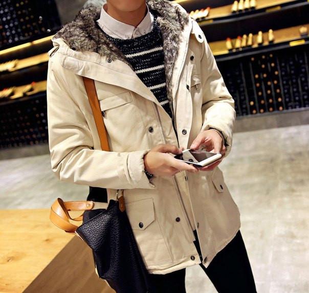 Мужское приталенное пальто на меху