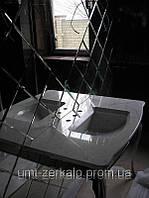 Плитка зеркальная треугольник с фацетом 10мм серебро 150*150 мм