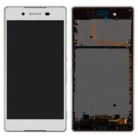 Дисплей для мобильных телефонов Sony E6553 Xperia Z3+, Xperia Z4, белый, с рамкой, с сенсорным экраном, high-copy