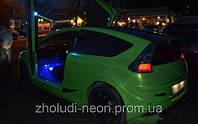Подсветка ног салона автомобиля-Синяя.4х3