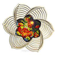 """Дерев'яна хлібник ХЛ4 """"Жостовских розпис: Квіти і метелики"""""""