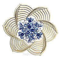 """Дерев'яна хлібник ХЛ4 """"Гжельская розпис: Сині квіти"""""""
