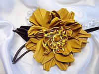 Брошь желтый цветок из кожи