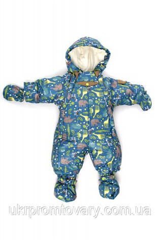 """Детский комбинезон-трансформер для новорожденного демисезонный """"Сафари"""" синий, фото 2"""