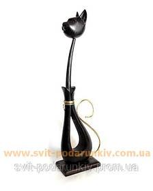 Статуэтка Кошка, сувенир из дерева с металлом