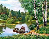"""Набор алмазной вышивки (мозаики) речной пейзаж """"Березы у реки"""""""