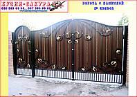 Ворота дворовые с калиткой. Кованые элементы- ручная ковка. Возможна доставка и установка.