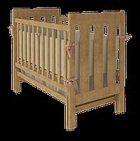 Детская кроватка для новорожденных «Oscar» с маятниковым механизмом и ящиком для белья ТМ Вудман натуральный