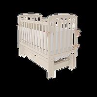 Детская кроватка для новорожденных «Teddy» с маятниковым механизмом и ящиком для белья ТМ Вудман белый