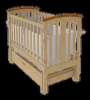 Детская кроватка для новорожденных «Міа» с маятниковым механизмом и ящиком для белья ТМ Вудман Натуральный