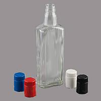 Стекляная бутылка штоф 0,5 л с красной крышкой дозатором