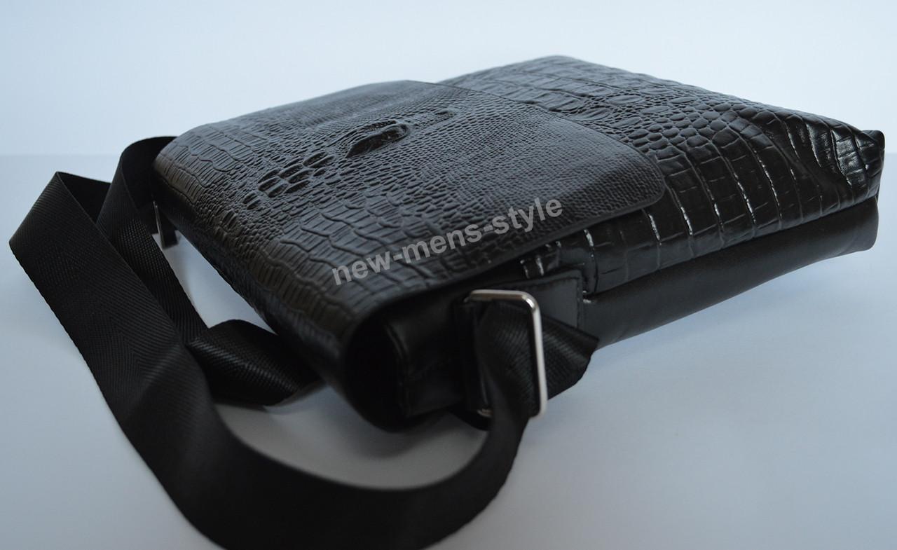 b474a8073a6 Мужская кожаная брендовая и стильная сумка Крокодил Alligator Lacoste