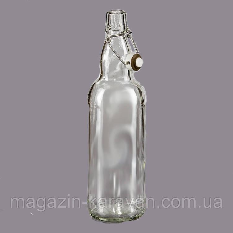 Стеклянная бутылка 1,0 л с бугельной крышкой бесцветная