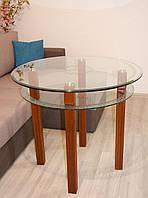 Стол круглый стеклянный с деревянными ножками