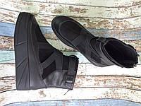 Ботинки Б-16075, из натуральной кожи и замши черного цвета