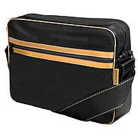 "Сумка для ноутбука Continent 15.6""  Black/Gold, чорна, шт.шкіра"