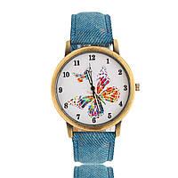 Женские часы наручные джинсовые с бабочкой - синие