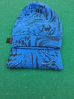 Женский шарф и Шапка зимние saxofono синие