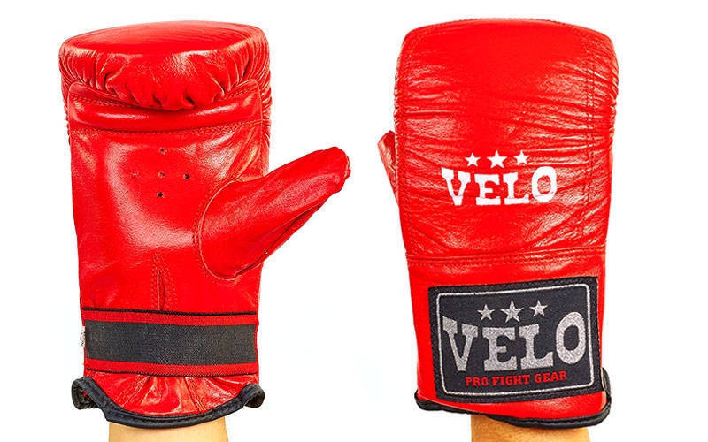 Снарядні шкіряні рукавички червоні Velo