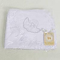 Крыжма для крещения в роддом. Белая с Ангелочком-вышивкой и кружевом и  на капюшоне, интерлок  90x95см