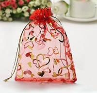 Мешочки подарочные, органза красная с золотыми сердцами 7х9 см, 1 шт.